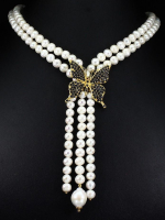 Freshwater Cultured Pearl & 10.60ct Genuine Sapphire & Ruby Butterfly Necklace (UGL Appraisal) at PristineAuction.com