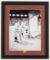 Babe Ruth & Lou Gehrig Yankees 13x15 Custom Framed Photo Display with Yankees Pin at PristineAuction.com