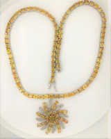 53.70ct Natural Yellow Sapphire & Diamond Necklace (UGL Appraisal) at PristineAuction.com