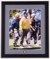 Tiger Woods, Jack Nicklaus & Arnold Palmer 16x19 Custom Framed Photo Display with Masters Ball Marker at PristineAuction.com
