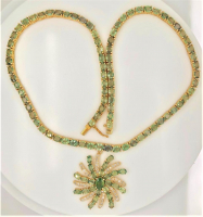 52.25ct Natural Green Sapphire & Diamond Necklace (UGL Appraisal) at PristineAuction.com