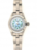 Rolex Oyster Perpetual Ladies Diamond & Emerald Stainlees Steel Wristwatch with Box (UGL Appraisal) at PristineAuction.com