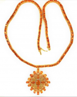 30.15ct Orange Sapphire & Diamond Necklace (UGL Appraisal) at PristineAuction.com
