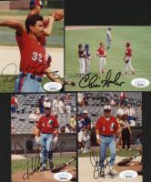 Lot of (4) Signed Baseball Photo Cuts with Dave Martinez, Chris Sabo, Andres Galarraga, Junior Noboa (JSA COA) at PristineAuction.com
