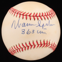 "Warren Spahn Signed ONL Baseball Inscribed ""363 Wins"" (JSA COA) at PristineAuction.com"