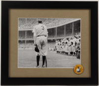 """Babe Ruth Yankees 13x15 Custom Framed Photo Display with """"Never Forgotton"""" Pin at PristineAuction.com"""