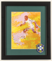 """LeRoy Neiman """"Pele"""" 13x15 Custom Framed Print Display with Brazil National Soccer Team Patch at PristineAuction.com"""