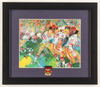 "LeRoy Neiman ""Joe Montana"" 13x15 Custom Framed Print Display with Super Bowl XXIII Pin at PristineAuction.com"