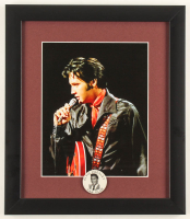 Elvis Presley 13x15 Custom Framed Photo Display with Vintage 1960's Fan Club Pin at PristineAuction.com