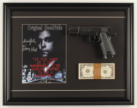 """Henry Hill Signed """"Goodfellas"""" 17.5x22.5 Custom Framed Print Display Inscribed """"Goodfella"""" with Replica Gun & Prop Money (PSA COA) at PristineAuction.com"""