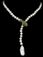 Freshwater Cultured Pearl & 4.90ct Genuine Emerald & Pink Sapphire Snake Necklace (UGL Appraisal) at PristineAuction.com