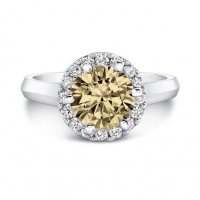 2.28ct Fancy Light Brown & White Diamond Halo Engagement Ring 14kt White Gold (UGL Appraisal) at PristineAuction.com