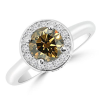 1.20ct Fancy Brown & White Diamond Halo Engagement Ring 14kt White Gold (UGL Appraisal) at PristineAuction.com