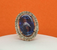 22.02ct Blue Sapphire & Diamond Ring (UGL Appraisal) at PristineAuction.com