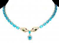 16.30ct Cartier Style Blue Opal Snake Necklace (UGL Appraisal) at PristineAuction.com