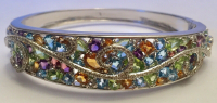 12.75ct Multi-Colored Gemstone & Diamond Bangle Bracelet (UGL Appraisal) at PristineAuction.com