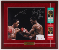 "Sugar Ray Leonard & Tommy ""Hitman"" Hearns Signed 22x25.5 Custom Framed Photo Display with (2) Original Caesars Palace Fight Tickets (PSA COA) at PristineAuction.com"