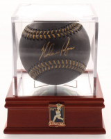 Nolan Ryan Signed OML Black Leather Baseball with Nolan Ryan Display Case (PSA COA) at PristineAuction.com