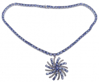 37.00ct Tanzanite & Cz Necklace (GAL Appraisal) at PristineAuction.com