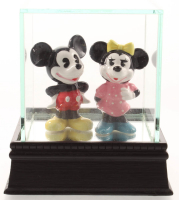 Lot of (2) Vintage 1970s Disney Japan Porcelain Mickey Mouse & Minnie Mouse Figures with Display Case at PristineAuction.com