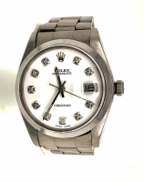 Rolex OysterDate Midsize Diamond Stainlees Steel Wristwatch with Box (UGL Appraisal) at PristineAuction.com