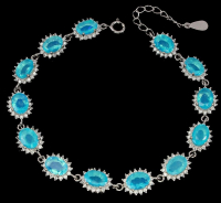 7.50ct Blue Opal & White Zircon Bracelet (UGL Appraisal) at PristineAuction.com