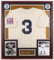 Babe Ruth Yankees 32x36 Custom Framed Jersey Display with Yankees Pin at PristineAuction.com