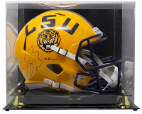 "Joe Burrow Signed LSU Tigers Full Size Speed Helmet Inscribed ""19 Heisman"" with Display Case (Fanatics Hologram) at PristineAuction.com"