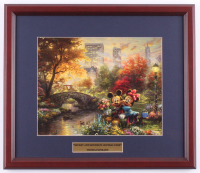"Thomas Kinkade Walt Disney's ""Mickey & Minnie in Central Park"" 15x17.5 Custom Framed Print Display at PristineAuction.com"