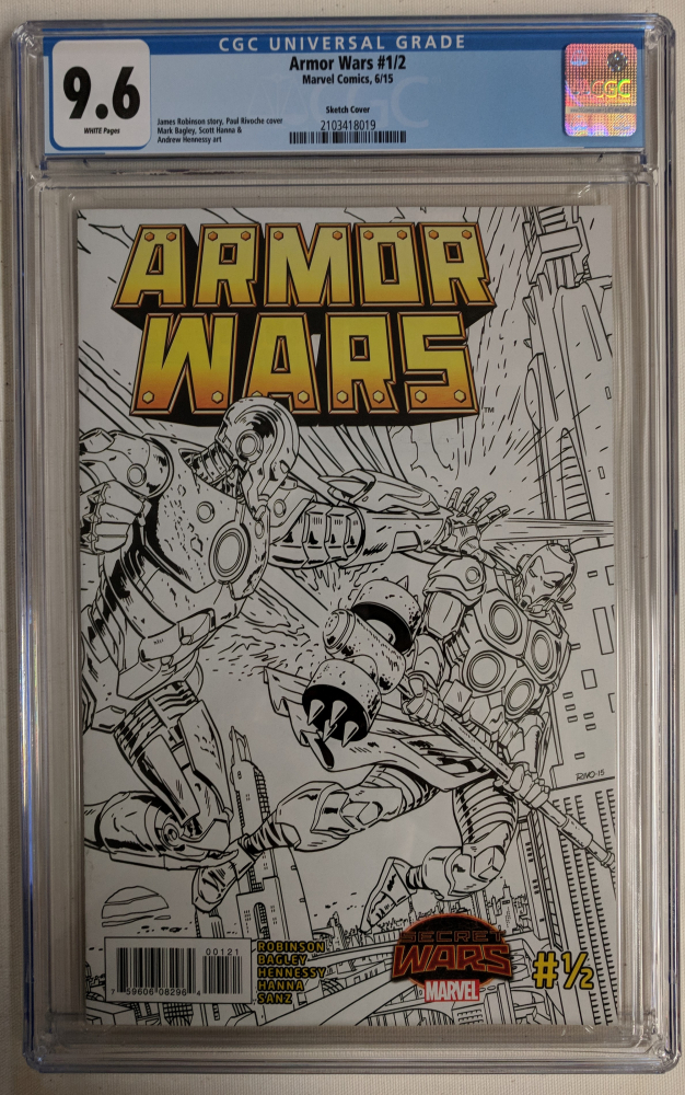"""2015 """"Armor Wars"""" Issue #1/2 Sketch Cover Variant Marvel Comic Book (CGC 9.6) at PristineAuction.com"""