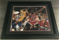 Michael Jordan & Magic Johnson Signed 16x20 Custom Framed LE Photo (UDA COA) at PristineAuction.com