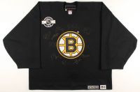 Game-Used Practice Bruins Jersey Team-Signed by (12) With Patrice Bergeron, Brad Marchand, Zdeno Chara, Tim Thomas (YSMS COA) at PristineAuction.com
