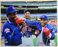 Mike Tyson, Dwight Gooden & Darryl Strawberry Signed Mets 16x20 Photo (JSA Hologram) at PristineAuction.com