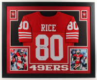 Jerry Rice Signed 35x43 Custom Framed Jersey (Beckett COA) at PristineAuction.com