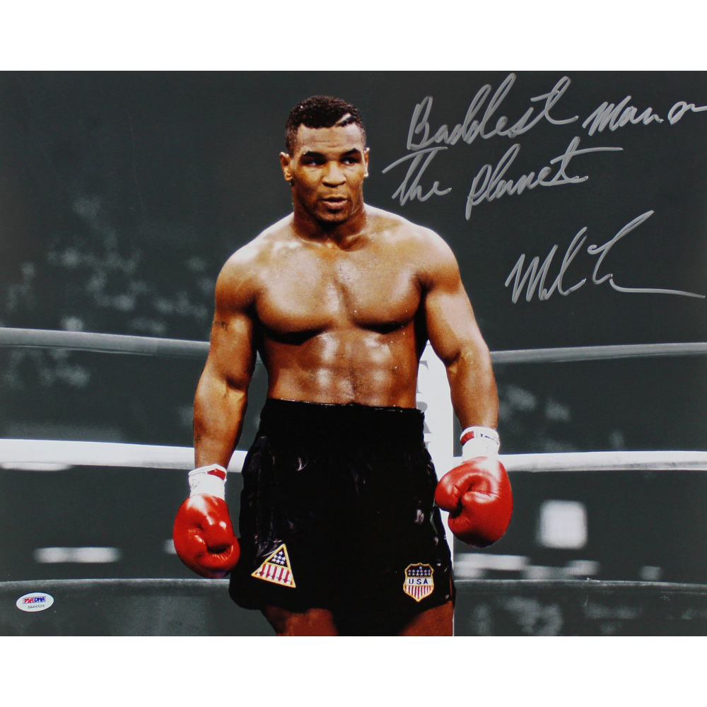 MIKE TYSON SIGNED BADDEST MAN ON THE PLANET FEROCIOUS PRINT ALI MAYWEATHER HORN