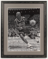 Michael Jordan Signed LE Bulls 21.25x26.25 Custom Framed Print Display (UDA COA) at PristineAuction.com