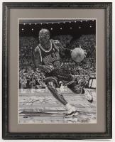 Michael Jordan Signed LE Bulls 21.25x26.25 Custom Framed Print Display (UDA COA) at PristineAuction.com