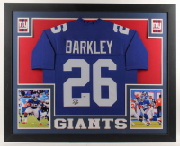 Saquon Barkley Signed 35x43 Custom Framed Jersey (Beckett Hologram) at PristineAuction.com