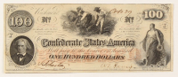 1862 $100 One Hundred-Dollar Confederate States of America Richmond CSA Bank Note at PristineAuction.com
