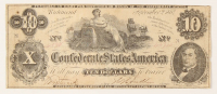 1862 $10 Ten-Dollar Confederate States of America Richmond CSA Bank Note at PristineAuction.com
