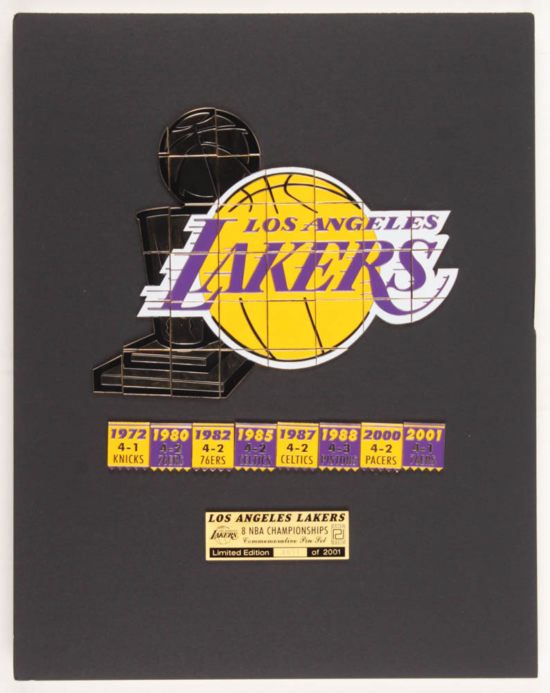 Lakers LE 11x14 Custom Matted Commemorative Pin Set Display with (41) Individual Pins at PristineAuction.com