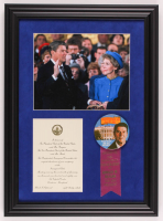 Ronald Reagan 15x20.5 Custom Framed Photo Display with Inauguration Invitation & Pin at PristineAuction.com