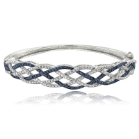 .25ct Genuine Blue & White Diamond Weave Bangle Bracelet at PristineAuction.com