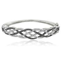 .25ct Genuine Black & White Diamond Weave Bangle Bracelet at PristineAuction.com
