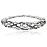 .25ct Genuine Black & White Diamond Weave Bangle Bracelet at PristineAuction.com