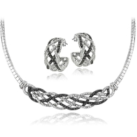 .50ct Genuine Black & White Diamond Necklace & Earring Weave Set at PristineAuction.com