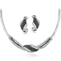 .50ct Genuine Black & White Diamond Necklace & Earring Twist Set at PristineAuction.com