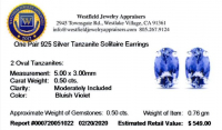 Tanzanite Oval .925 Sterling Silver Earrings at PristineAuction.com