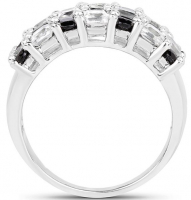 Black Spinel & White Topaz .925 Sterling Silver Ring at PristineAuction.com