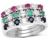 Black Sapphire, White Topaz & Emerald .925 Sterling Silver Ring at PristineAuction.com